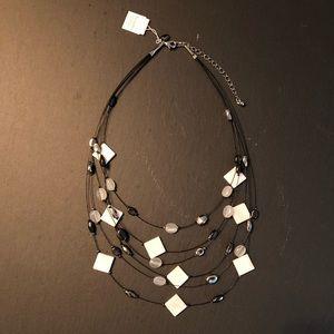 Lia Sophia Necklace - Black/White/Silver